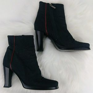 BCBG Max Azria Stretch Denim Mid-Calf Heeled Boots